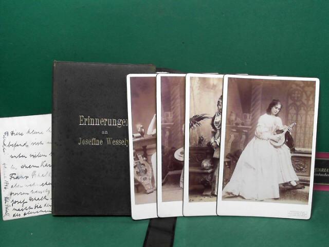 Erinnerungen an Josefine Wessely. (= Lederflügelmappe mit vier Photographien der Künstlerin vom Fotografen Szekely, Wien).