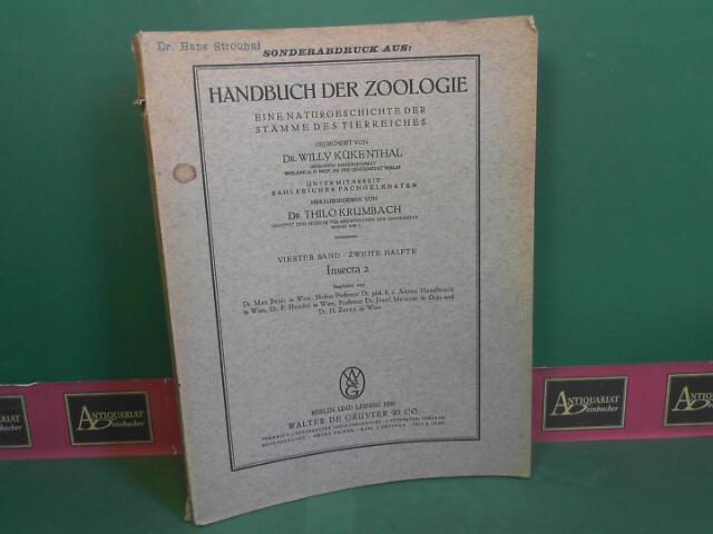 Schmetterlinge - Lepidoptera. 25.Ordnung der Pterygogenea. (= Kükenthal: Handbuch der Zoologie, 4.Band, 2.Hälfte: Insecta 2, Sonderabdruck). 1.Auflage,