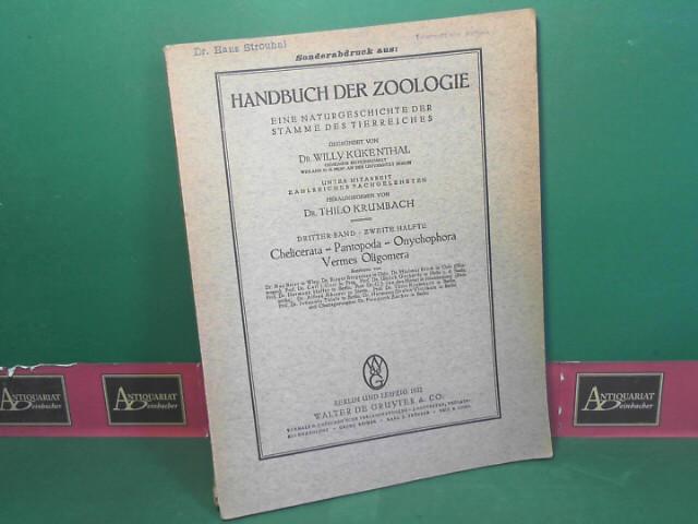 Beier, Max: Pseudoscorpionodae - Afterscorpione. 5.Ordnung der Arachnida. (= Kükenthal: Handbuch der Zoologie, 3.Band, 2.Hälfte: Sonderabdruck). 1.Auflage,
