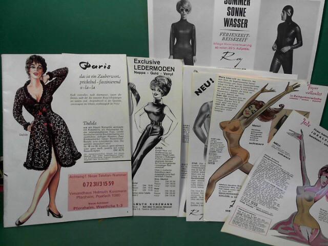 Verkaufskatalog für erotische Dessous - beiliegend: Kleinprospekte: Exclusive Ledermoden und mehrere Blätter für Gummi-Wäsche.