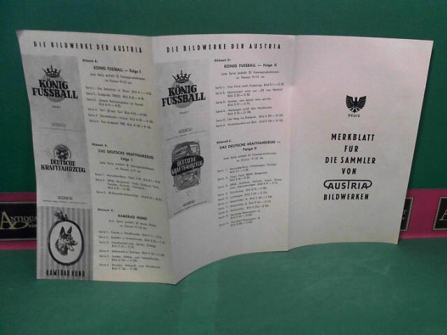 Merkblatt für die Sammler von Austria Bildwerken. (= Werbefleyer der Austria Tabakwerke AG zu ihren Sammelbildalben). 1.Auflage,