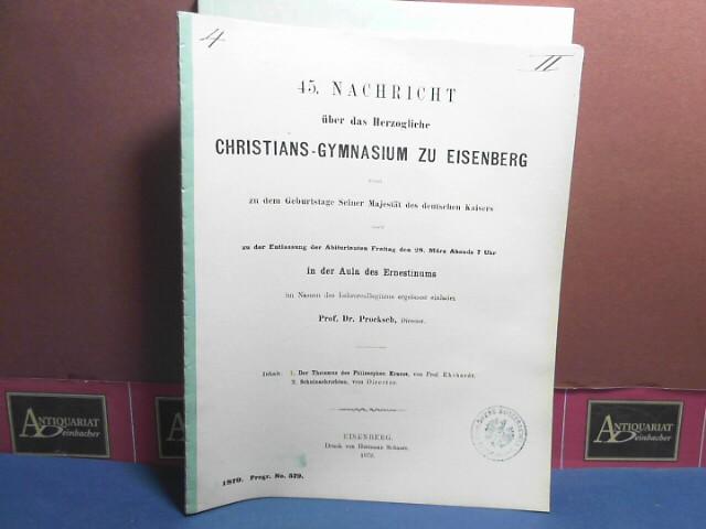 Der Theismus des Philosophen Krause. (= Schulnachricht des Herzoglichen Christians-Gymnasium zu Eisenberg). 1. Aufl.