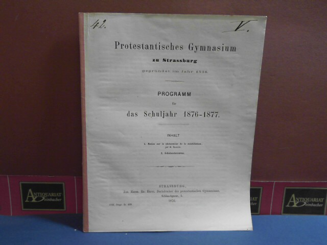 Notice sur le phenomene de la scintillation. (=  Beilage zum Programm des Protestantischen Gymnasium zu Strassburg).