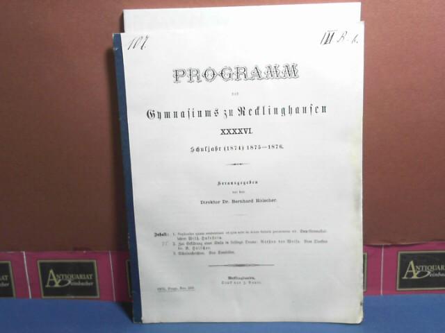 Zur Erklärung einer Stelle in Lessings Drama: Nathan der Weise. (= Schulnachricht des Gymnasium zu Recklinghausen). 1. Aufl.