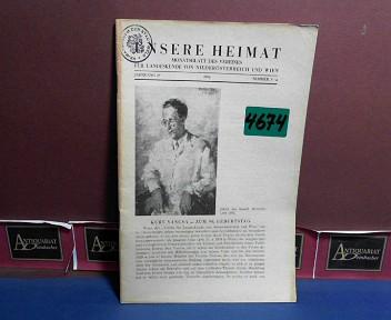 Unsere Heimat. -  Jahrgang 25, 1954, Nr. 3/4 - Monatsblatt des Vereines für Landeskunde von Niederösterreich und Wien. 1.Auflage,
