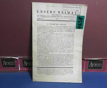 Unsere Heimat. -  Jahrgang 23, 1952, Nr. 1/2 - Monatsblatt des Vereines für Landeskunde von Niederösterreich und Wien. 1.Auflage,