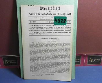 XXII. Jahrgang 1923 Nr. 6 - Monatsblatt des Vereines für Landeskunde  von Niederösterreich. 1.Auflage,