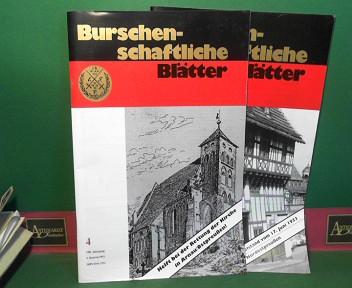 Burschenschaftliche Blätter - Zeitschrift für den deutschen Burschenschafter.  -87.Jg.1972 Heft 5-8; 88.Jg.1973 Heft 1-5,7-8; 89.Jg.1974 Heft 1-7; 90.Jg.1975 Heft 1-2,4-6,8; 91 Jg.1976 Heft 1-4,6,8; 92.Jg.1977 Heft 1-5,7; 93.Jg.1978 Heft 1-8; 94.Jg.1979 Heft 1-8; 95.Jg.1980 Heft 1-8,3-7; 96.Jg.1981 Heft 1-5,7-8; 97.Jg.1982 Heft 2-8; 98.Jg.1983 Heft 1-4, 6-8; 99.Jg.1984 Heft 1-8; 100.Jg.1985 Heft 1, 3-8: 101.Jg.1986 Heft 1-3, 5-7; 102.Jg.1987 Heft 1-9, 1-9; 103.Jg.1988 Heft 1-8, 2-4,6-8; 104.Jg.1989 Heft 1-5; 105.Jg.1990 Heft 2-6,2; 106.Jg.1991 Heft 2-4; 107 Jg.1992 Heft 1,3-4; 108.Jg.1993 Heft 1, 3-4; 109.Jg.1994 Heft 1-4; 110.Jg.1995 Heft 1-4; 111.Jg.1996 Heft 1-4; 112.Jg.1997 Heft 1-4; 113.Jg.1998 Heft 1-3; 114.Jg.1999 Heft 3-4; 115.Jg.2000 Heft 1-4; 116.Jg.2001 Heft 1-2,4; 117.Jg.2002 Heft 1,3; 118.Jg.2003 Heft 1-4; 119.Jg.2004 Heft 1,3-4; 120.Jg.2005 Heft 2; 121.Jg.2006 Heft 1-4; 122.Jg.2007 Heft 1-2,4; 123.Jg.2008 Heft 1-4; 124.Jg.2009 Heft 1-4; 125.Jg.2010 Heft 1-4; 126.Jg.2011 Heft 1-4; 127.Jg.2012 Heft 1-4; Sonderheft 1987. 1.Auflage,
