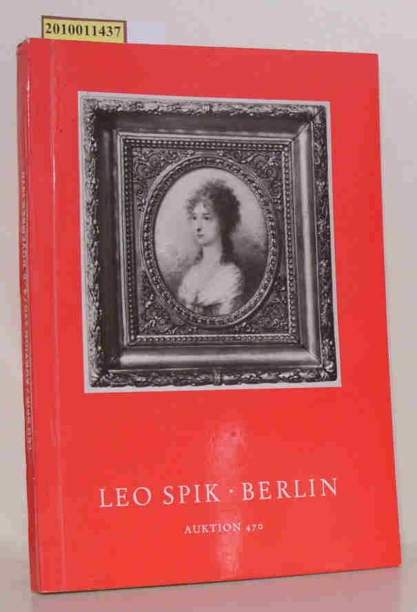 Leo Spik: Leo Spik Auktionskatalog  470 (November 1970) Gemälde, Zeichnungen, Graphik, Skulpturen, Möbel, Silber, Uhren, Schmuck, Porzellan, Kunstgewebe, Ostasiatica