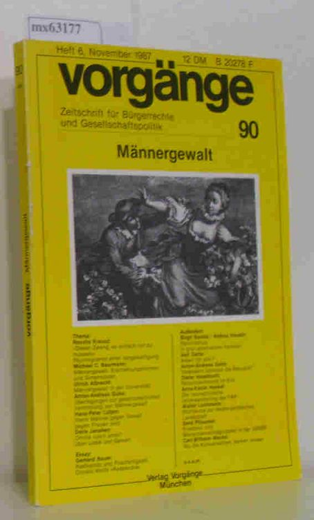 Vorgänge Heft 6 November 1987 Männergewalt