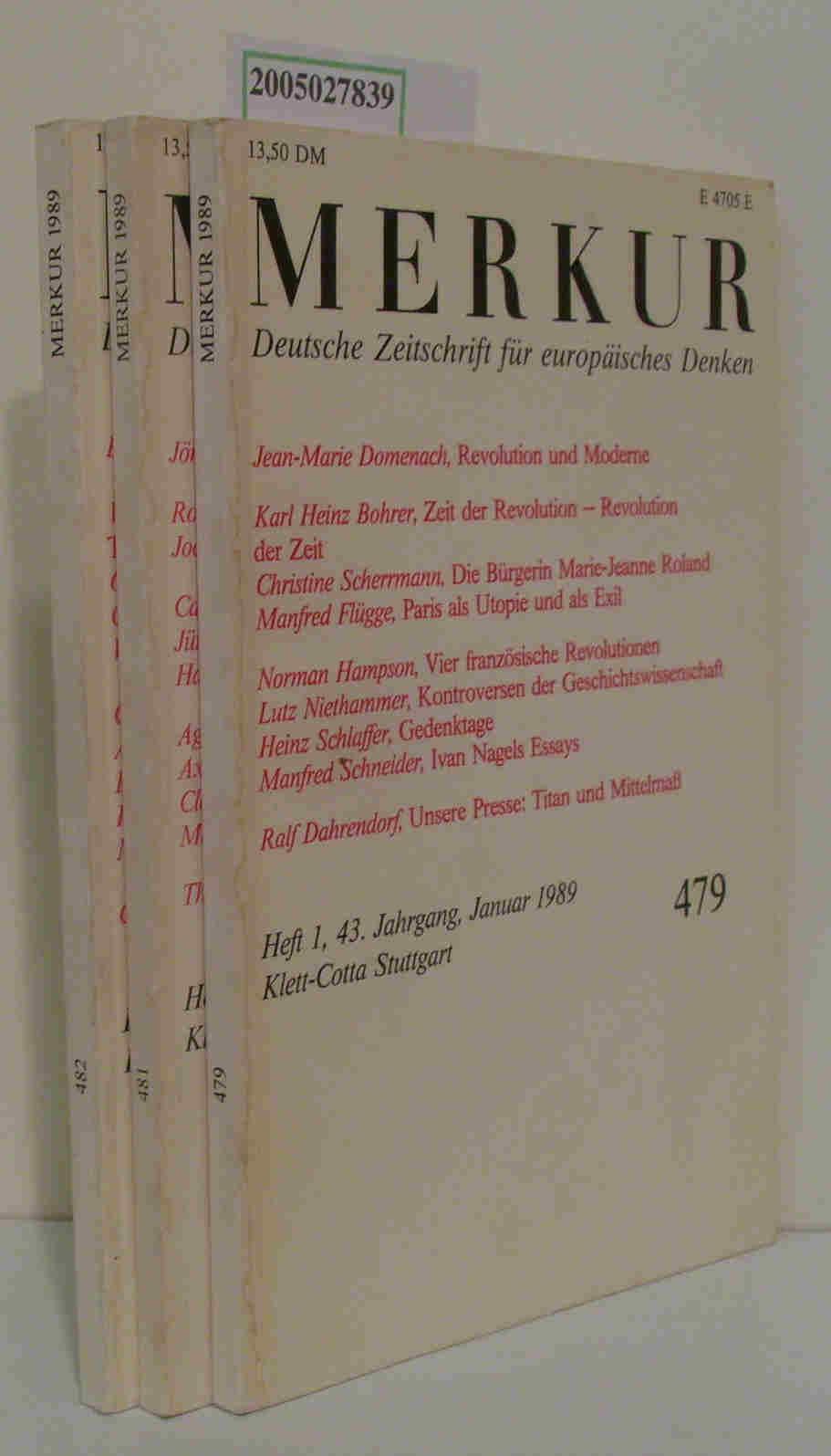 Merkur. Deutsche Zeitschrift für europäisches Denken 43. Jahrgang heft 1,3,4.