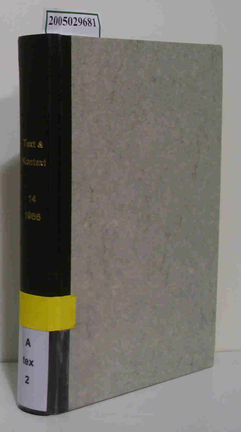Text & Kontext Zeitschrift für germanistische Literaturforschung in Skandinavien