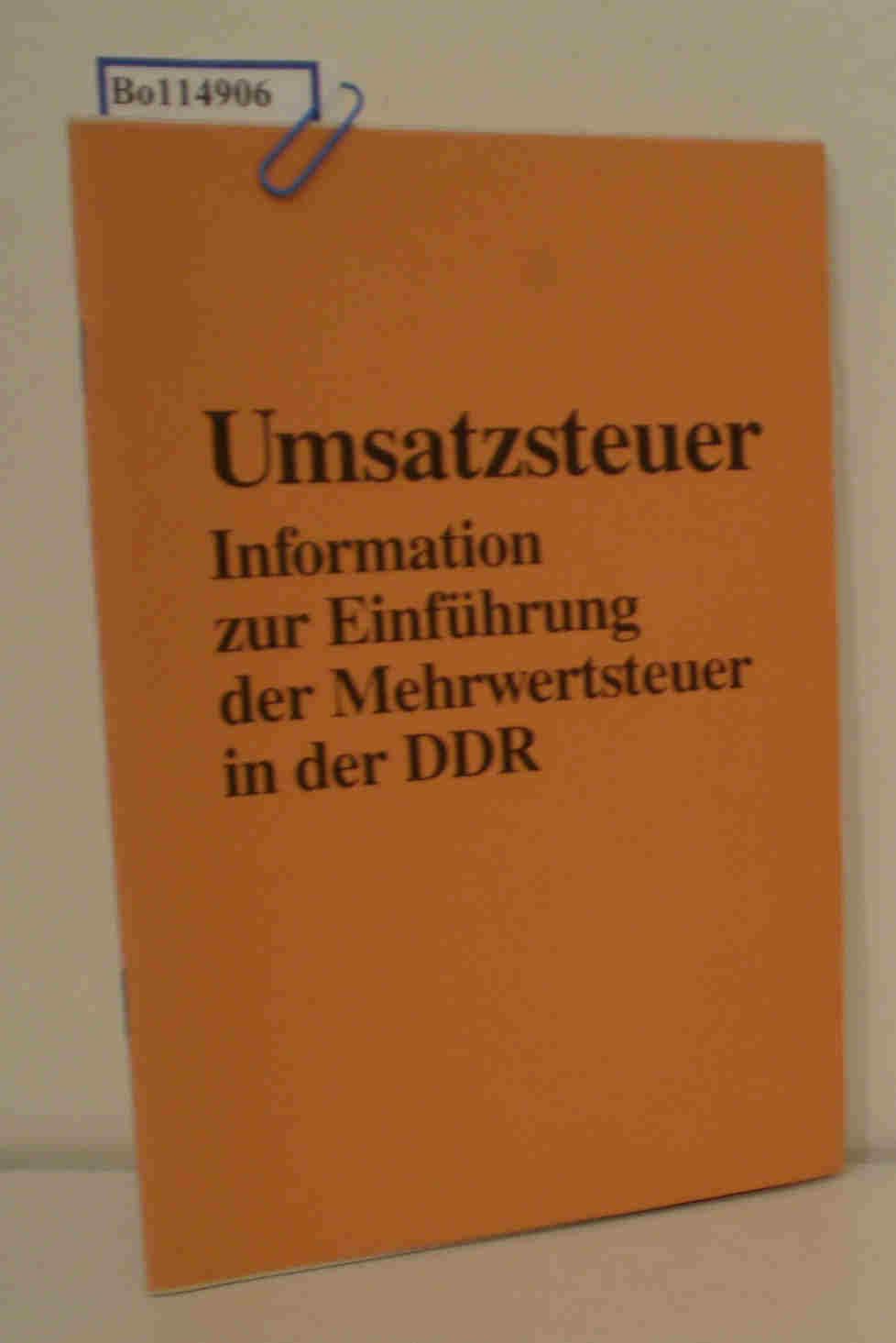 Umsatzsteuer Information zur Einführung der Mehrwertsteuer in der DDR