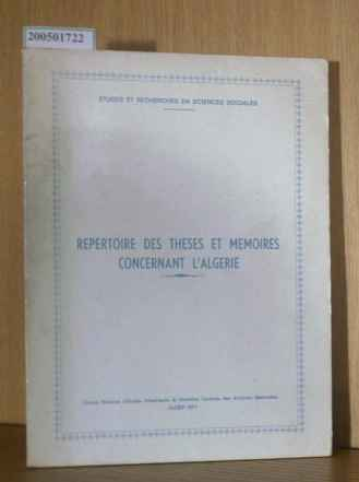 Repertoire Des Thèses Et Memoires Concernant L