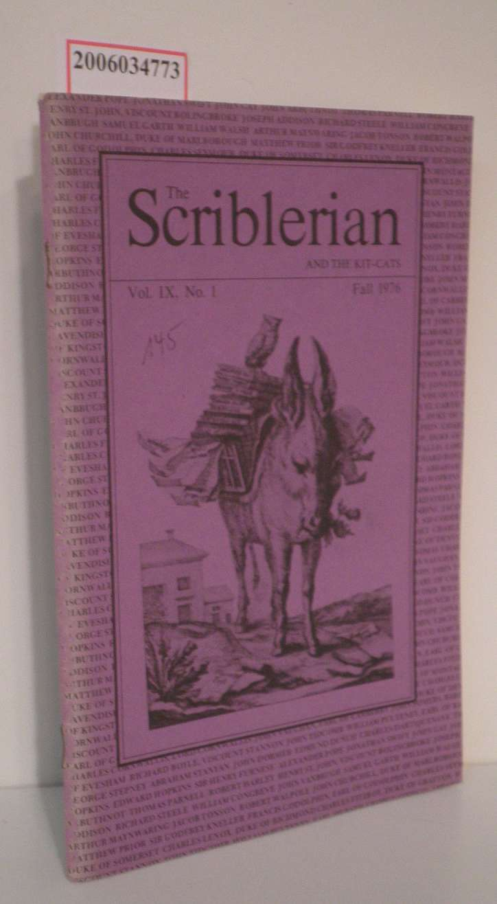 The Scriblerian and the kit-cats Fall 1976 * Vol. IX. * No. 1