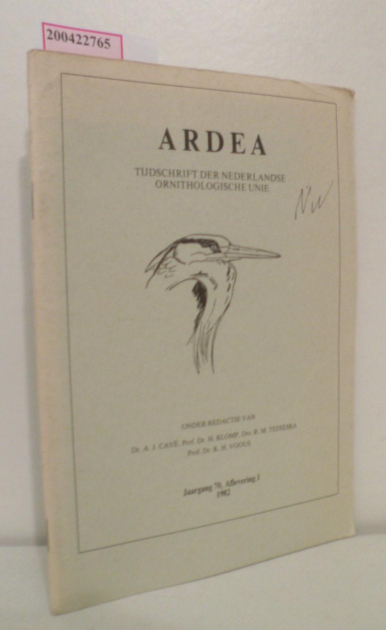 Ardea - Tijdschrift der Nederlandse Ornithologische Unie, Jaargang 70, Aflevering 1, 1982