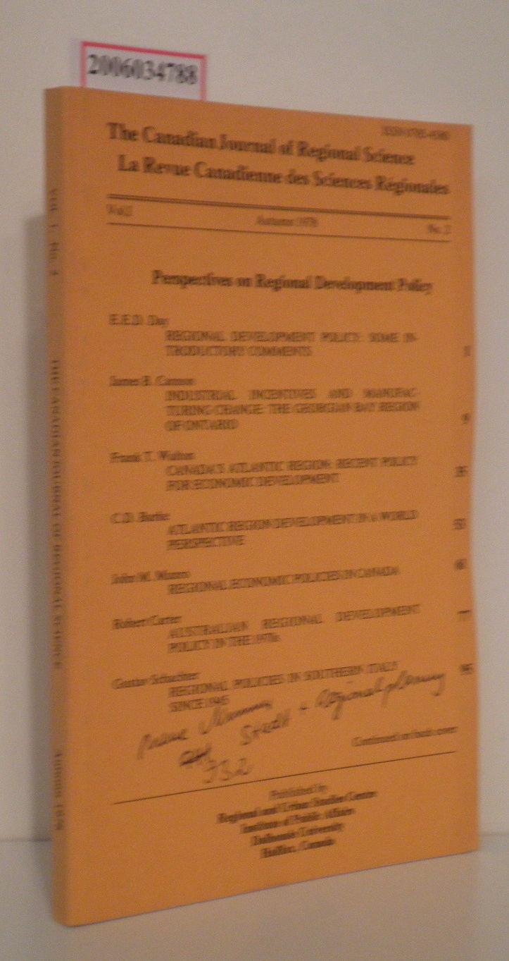 The Canadian Journal of Regional Science - Vol. I * Autumn 1978 * No. 2 La Revue Canadienne des Sciences Regionales