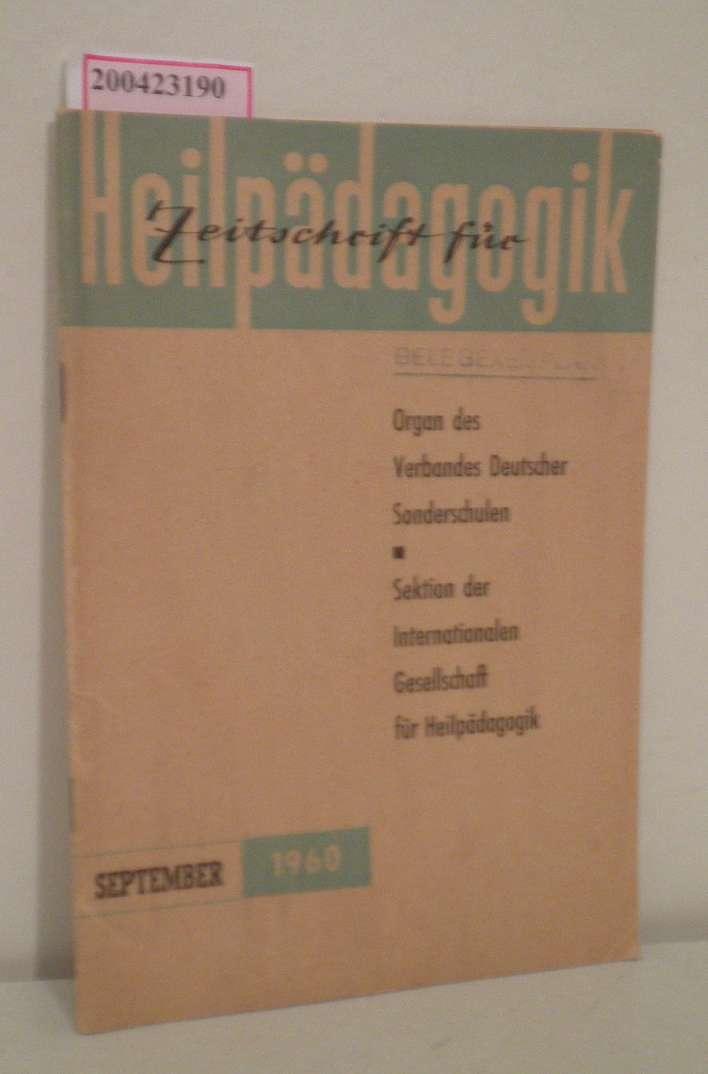 Zeitschrift für Heilpädagogik Heft 9  September 1960