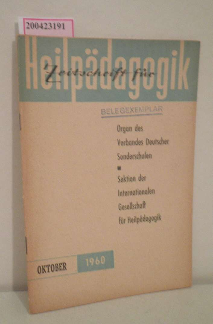 Zeitschrift für Heilpädagogik Heft 10  Oktober 1960