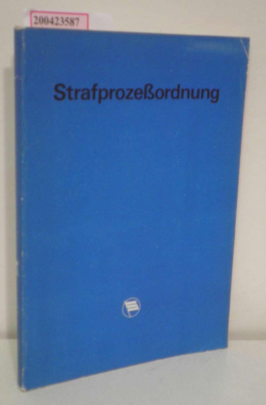 Strafprozessordnung der Deutschen Demokratischen Republik Textusgabe mit Sachregister