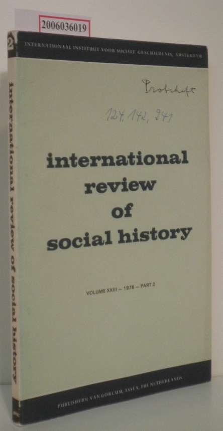 international review of social history Volume XXIII - 1978 - Part 2