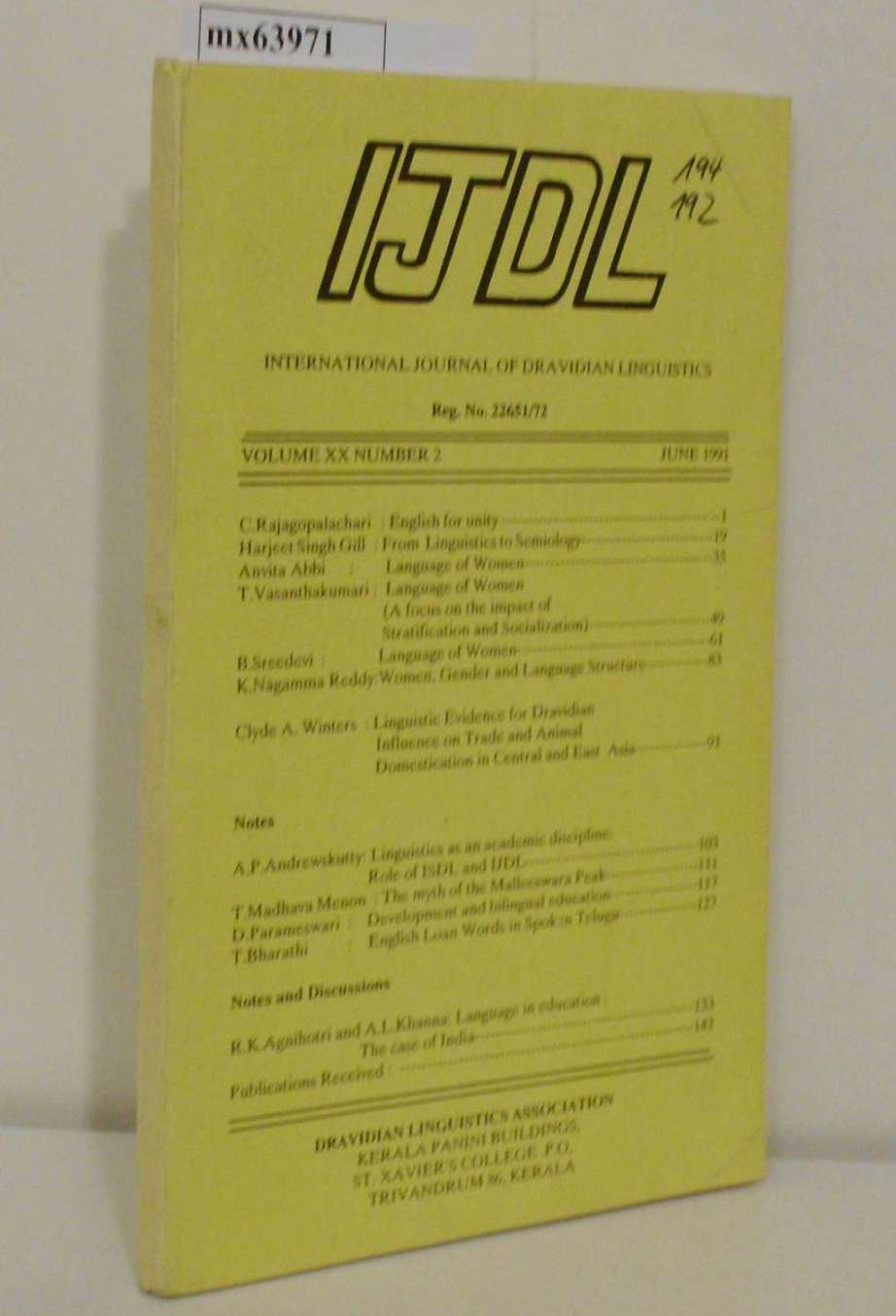 International Journal of Dravidian Linguistics Vol. XX, No. 2, June 1991