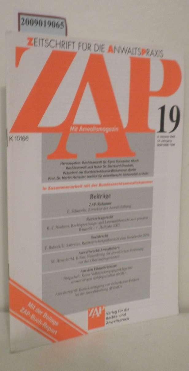 ZAP Zeitschrift für die Anwaltspraxis Heft 19 mit Anwaltsmagazin