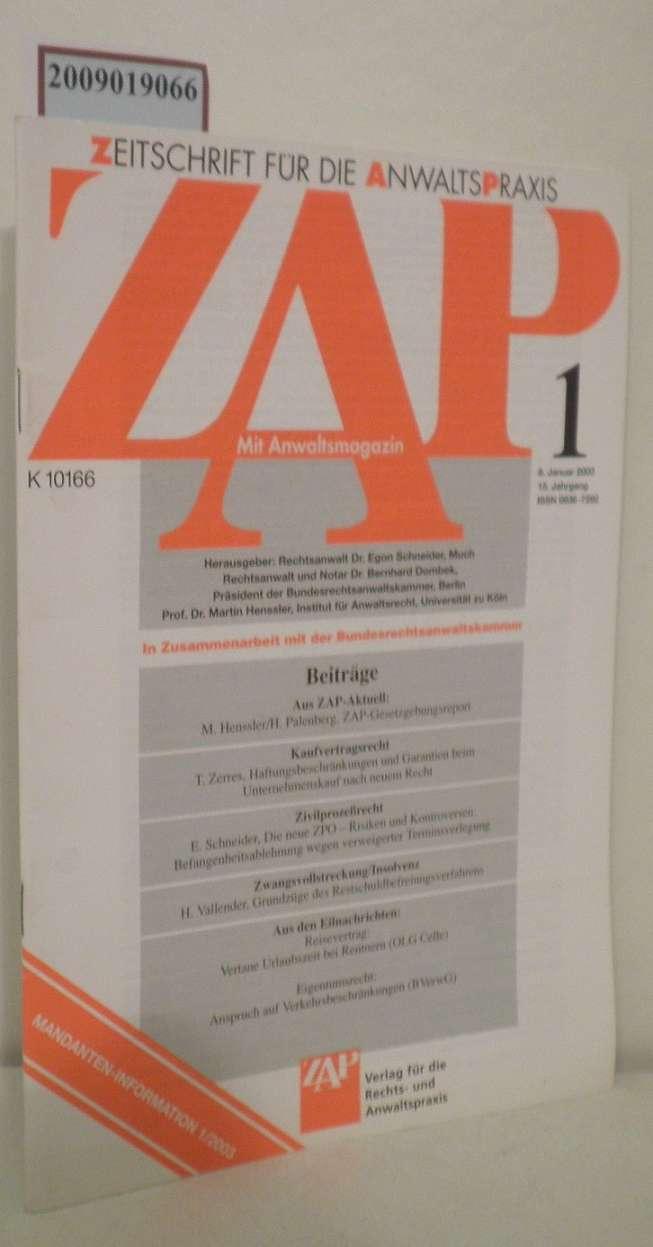 ZAP Zeitschrift für die Anwaltspraxis Heft 1 mit Anwaltsmagazin