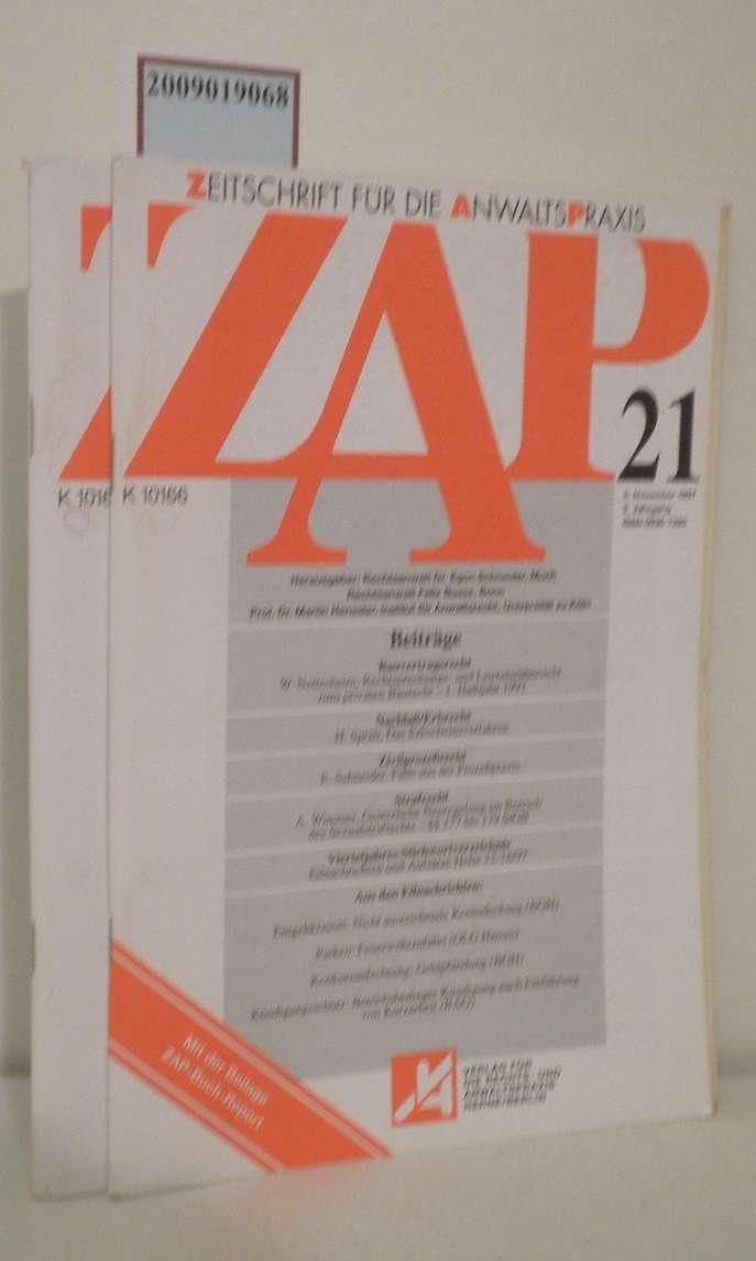 ZAP Zeitschrift für die Anwaltspraxis Heft 21 und 22