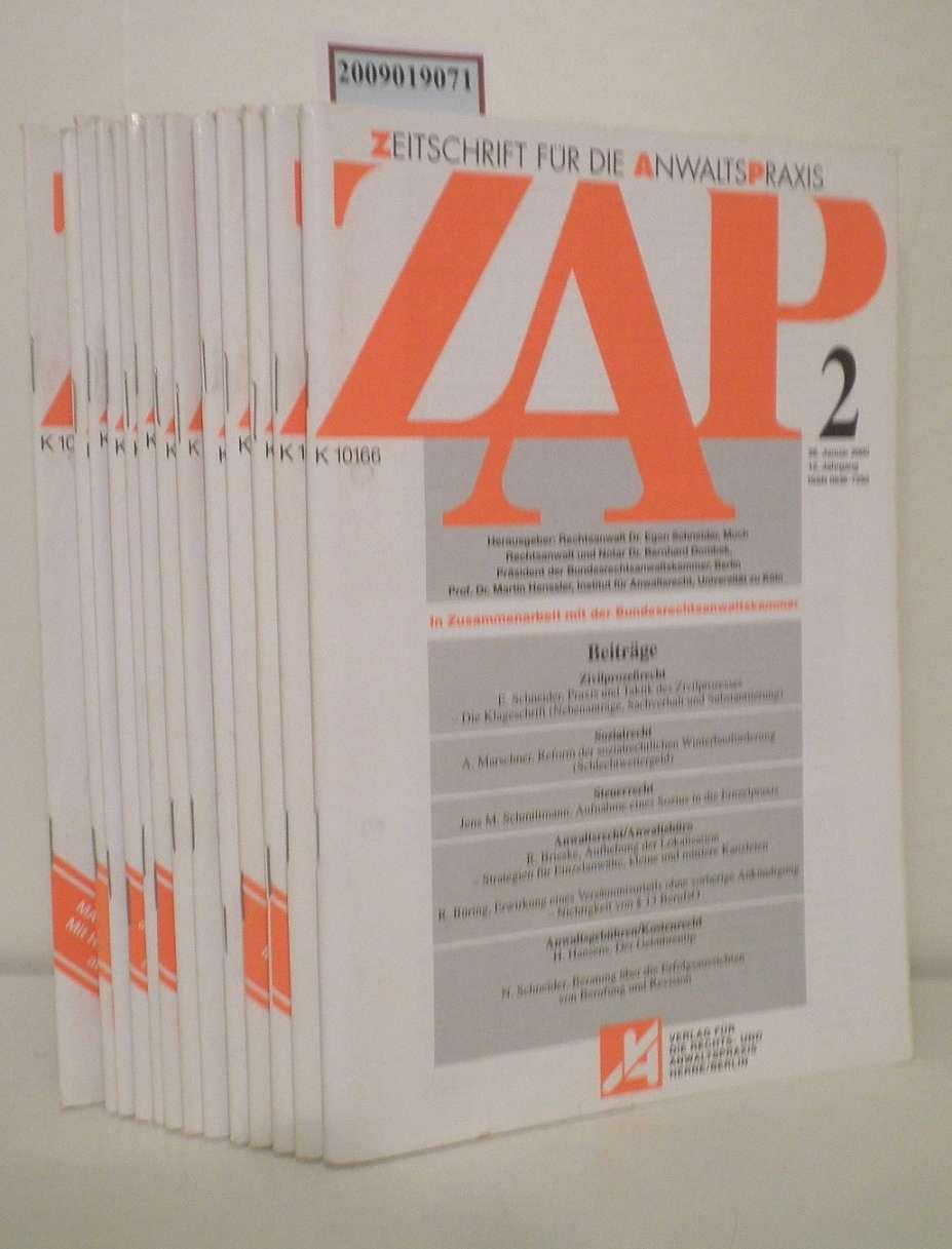 ZAP Zeitschrift für die Anwaltspraxis Heft 2-4, 6, 8. 9,12, 14, 15, 17, 18, 21-23