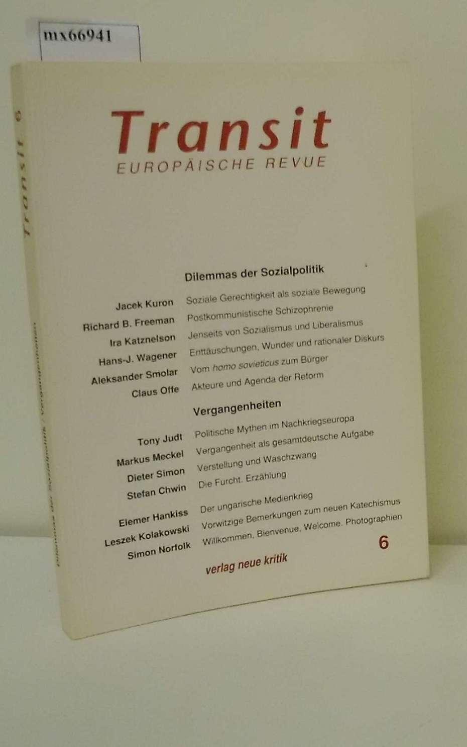 Transit. Europäische Revue 6. Herbst 1993  Dilemmas der Sozialpolitik