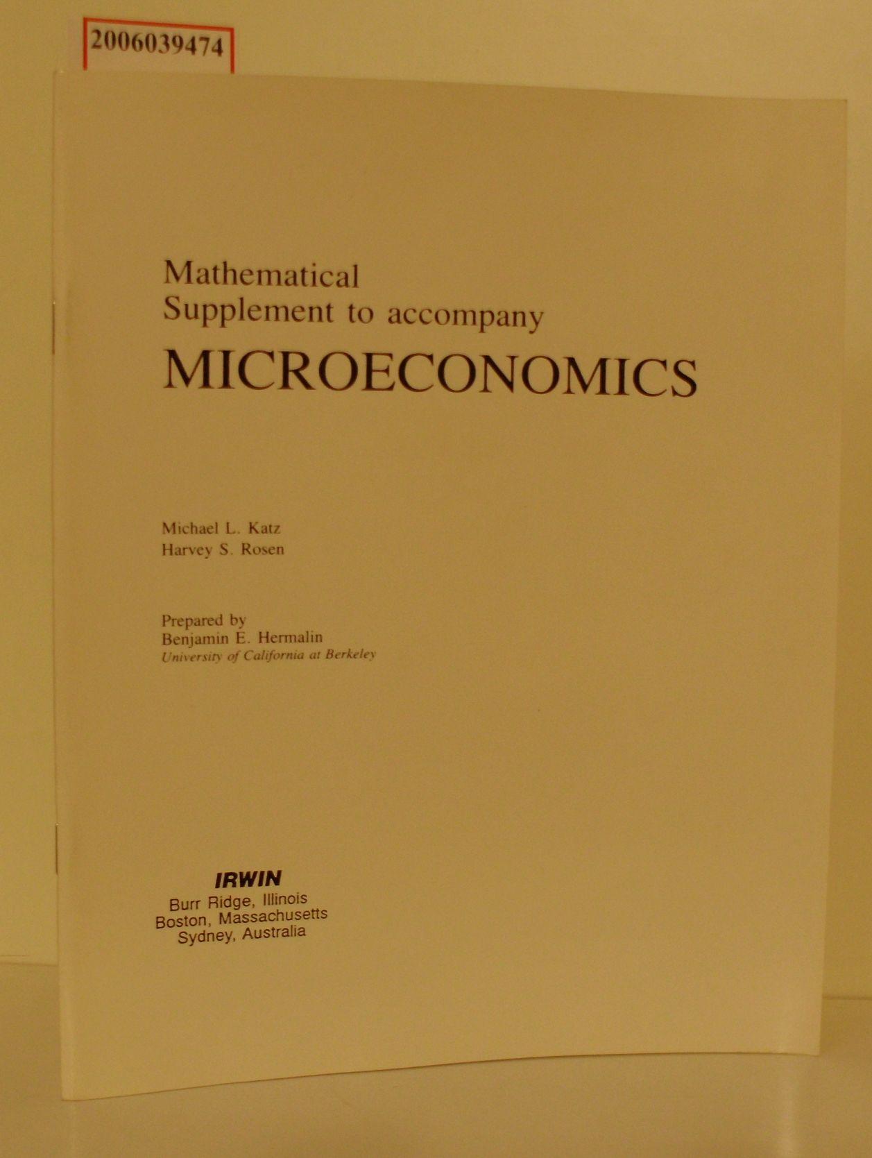 Mathematical Supplement to accompany MICROECONOMICS