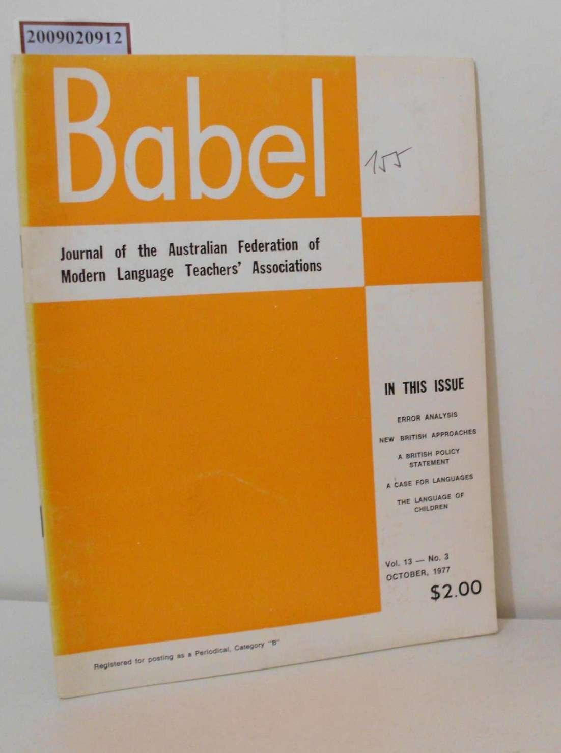 Babel - Journal of the Australian Federation of Modern Language Teachers