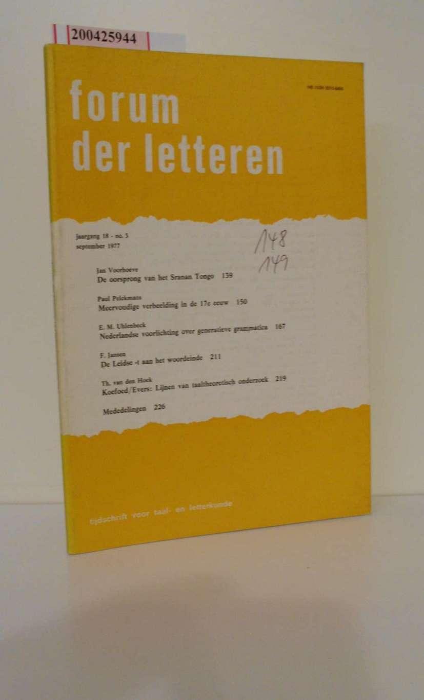 Forum der Letteren. No. 3 September 1977