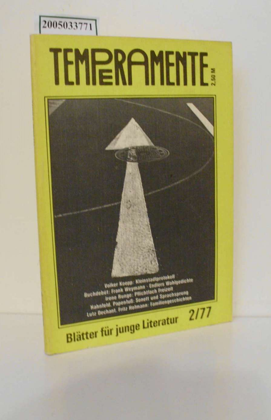 Temperamente / Blätter für junge Literatur / 2/77