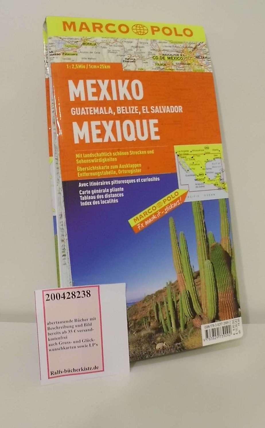 MARCO POLO Kontinentalkarte Mexiko, Guatemala, Belize, El Salvador 1:2,5 Mio. (MARCO POLO Kontinental /Länderkarten)