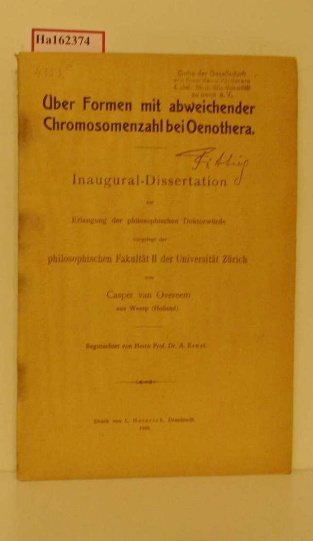 Über Formen mit abweichender Chromosomenzahl bei Oenothera. Dissertation/ Zürich.