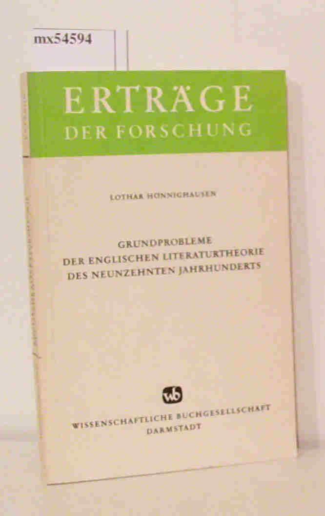 Grundprobleme der englischen Literaturtheorie des neunzehnten Jahrhunderts