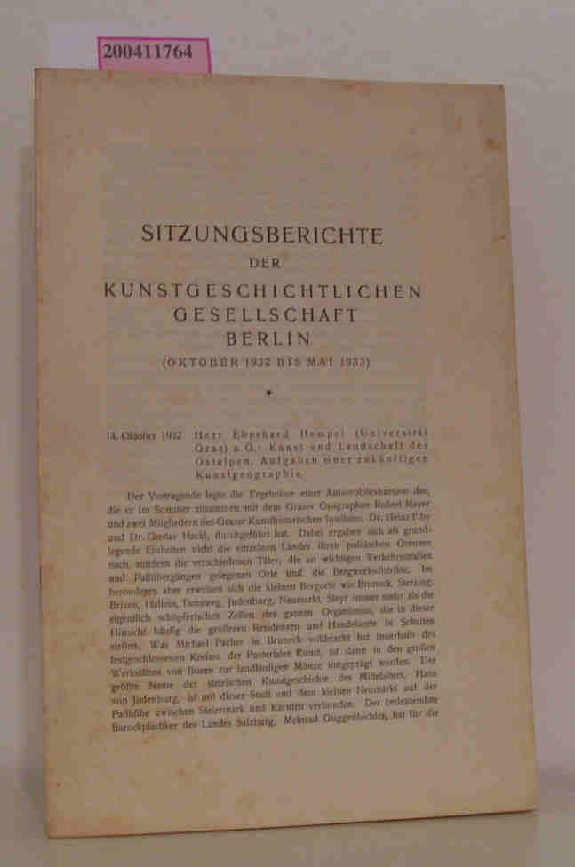 Sitzungsberichte der kunstgeschichtlichen Gesellschaft Berlin Oktober 1932 - Mai 1933