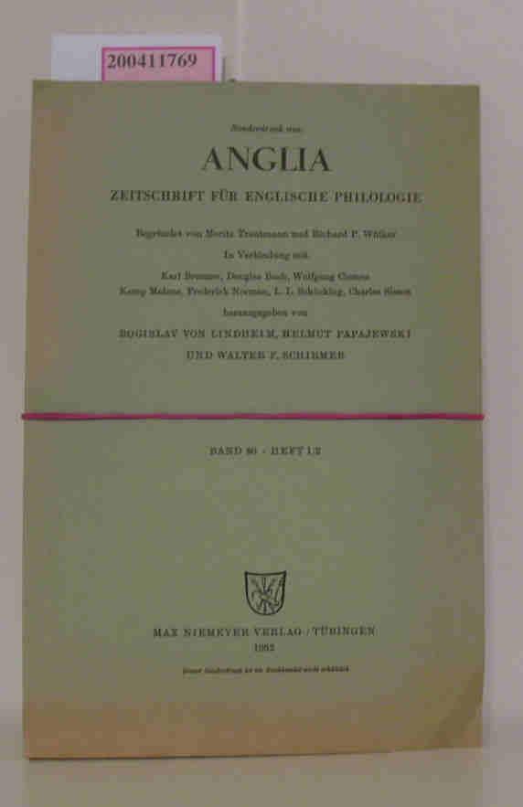 Sonderdruck aus: Anglia - Zeitschrift für Englische Philologie/ Band 80 - Heft 1 und 2, Heft 3 2 Hefte