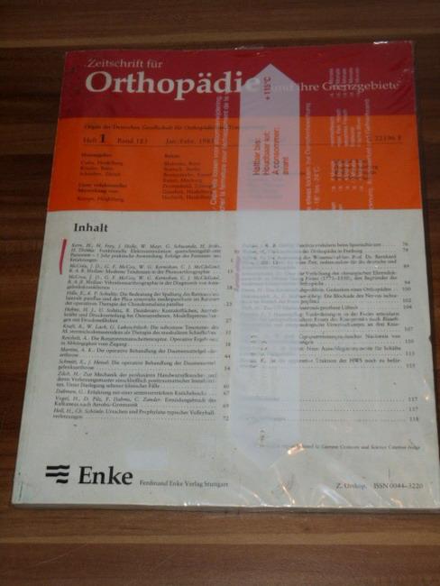 Zeitschrift für Orthopädie und ihre Grenzgebiete Heft 1, Band 123, Jan./Febr. 1985, Seite 1-120