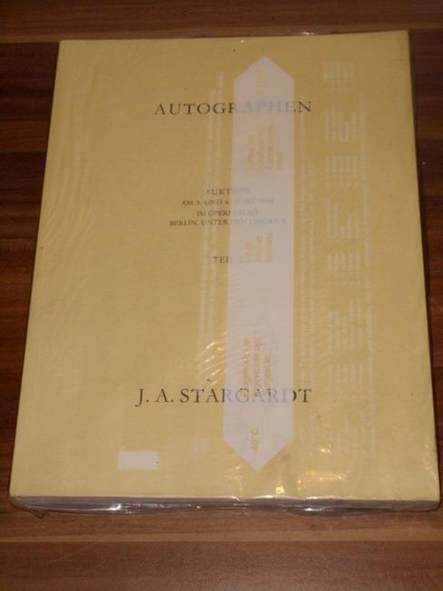 Autographen aus allen Gebieten Auktion am 3. und 4. März 1994 im Opernpalais Berlin, Unter den Linden 5; Teil 2