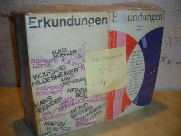 9 x Erkundungen [ Erkundungen I 24 chilenische Erzähler (1974) Erkundungen II 22 chilenische Autoren (1976) Erkundungen 15 dänische Erzähler (1981) Erkundungen 23 englische Erzähler (1971) Erkundungen 30 irische Erzähler (1979) Erkundungen 27 italienische Erzähler (1974) Erkundungen 41 österreichische Erzähler (1983) Erkundungen II 21 ungarische Erzähler (1983) Erkundungen 19 westdeutsche Erzähler (1965) ]