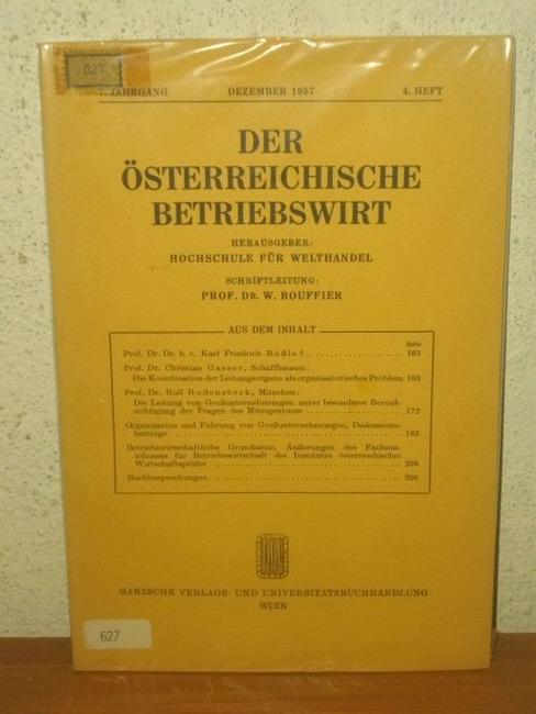 Der Österreichische Betriebswirt 7. Jahrgang Dezember 1957 4. Heft