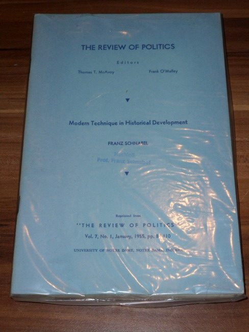 Modern Technique in Historical Development Sonderabdruck The Review of Politics