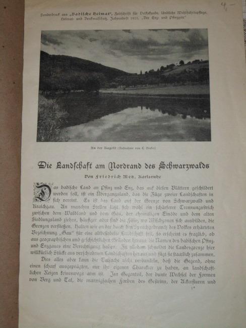 """Die Landschaft am Nordrand des Schwarzwalds Sonderdruck aus """"Badische Heimat"""", Zeitschrift für Volkskunde, ländliche Wohlfahrtspflege, Heimat- und Denkmalschutz, Jahresheft 1925, """"Der Enz- und Pfinzgau"""""""