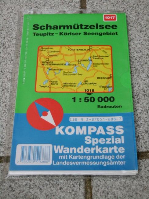 Scharmützelsee, Teupitz, Köriser Seengebiet : Radrouten (1:50 000) Kompass-Wanderkarte ; 1017 1. Aufl.