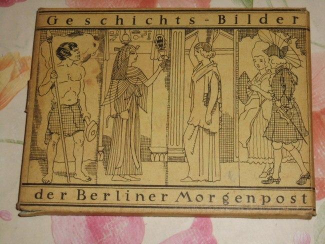 Geschichts-Bilder der Berliner Morgenpost. 46 (von 52) lose Tafeln im Postkartenformat, mit farbiger Illustration und rückseitigem erläuternden Text zur Geschichte.