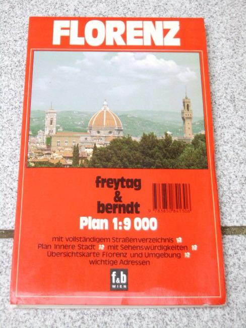 Florenz : Plan ; mit vollständigem Strassenverzeichnis ; Plan Innere Stadt ; mit Sehenswürdigkeiten ; Übersichtskarte Florenz und Umgebung ; wichtige Adressen 1:9 000