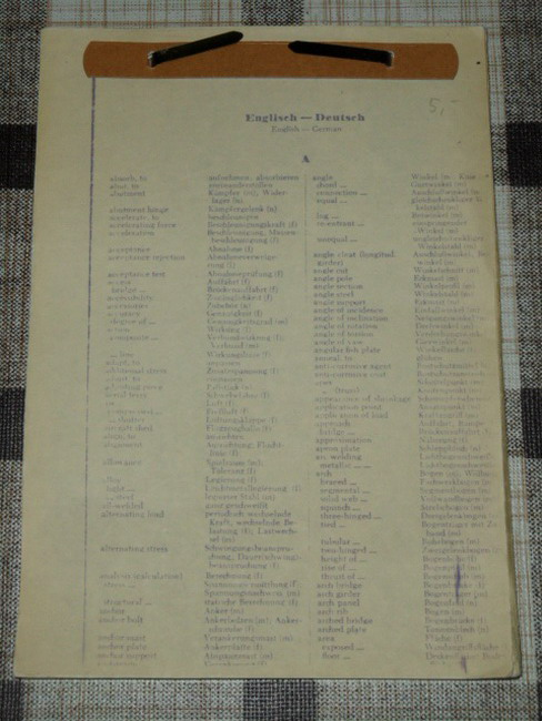 Wörterverzeichnis Englisch - Deutsch, Begriffe aus dem Bereich Bauwesen von A wie absorb to bis z wie zores steel